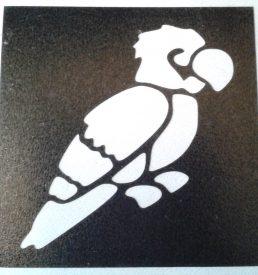 glitter tattoo sjabloon papegaai